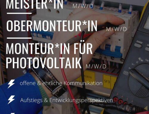 Elektrotechniker Meister*in / Obermonteur*in / Monteur*in für Photovoltaik (m/w/d)